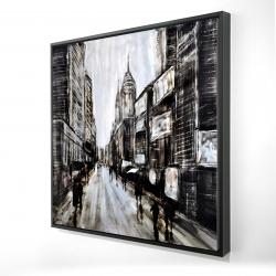 Framed 24 x 24 - 3D - Busy gray street