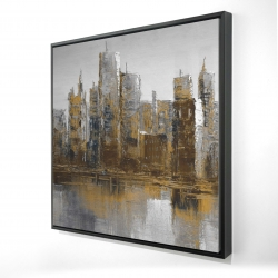 Framed 24 x 24 - 3D - Gray and yellow cityscape