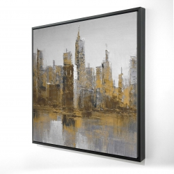 Framed 24 x 24 - 3D - Brown and gloomy cityscape
