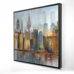 Framed 24 x 24 - 3D - Cityscape with chrysler building