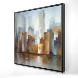 Framed 24 x 24 - 3D - Cityscape in the fog