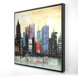 Framed 24 x 24 - 3D - Skyline on abstract cityscape