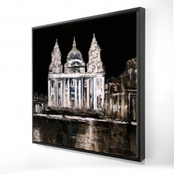 Framed 24 x 24 - 3D - White monument on a dark background