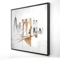 Framed 24 x 24 - 3D - Brooklyn bridge blurry sketch