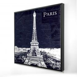 Framed 24 x 24 - 3D - Paris blue print and eiffel tower