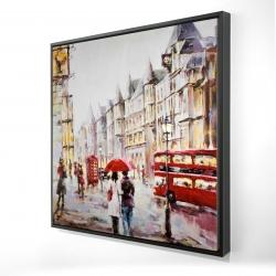 Framed 24 x 24 - 3D - European street by a rainy day