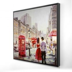 Framed 24 x 24 - 3D - Couple walking