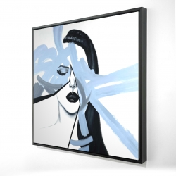Framed 24 x 24 - 3D - Abstract blue woman portrait