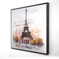 Framed 24 x 24 - 3D - Eiffel tower sketch with an handwritten message
