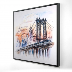 Framed 24 x 24 - 3D - Bridge sketch