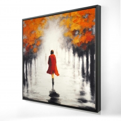 Framed 24 x 24 - 3D - Woman with a red coat by fall