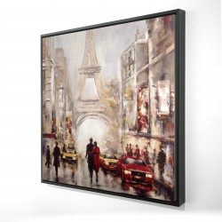 Framed 48 x 48 - 3D - Busy street of paris with eiffel tower