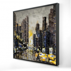 Framed 24 x 24 - 3D - Abstract and texturized city with yellow taxis