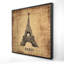 Framed 24 x 24 - 3D - Eiffel tower illustration