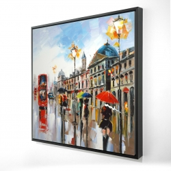 Framed 24 x 24 - 3D - Colorful street with red bus