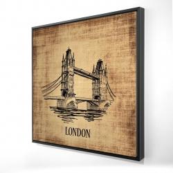 Framed 24 x 24 - 3D - Tower bridge illustration