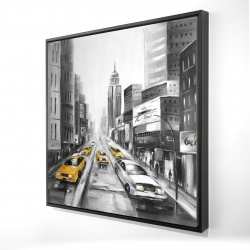 Framed 24 x 24 - 3D - Grayscale street with yellow cars