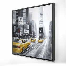 Framed 24 x 24 - 3D - Traffic of yellow cars in a gray city