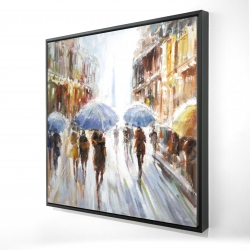 Framed 24 x 24 - 3D - Abstract rain in the city