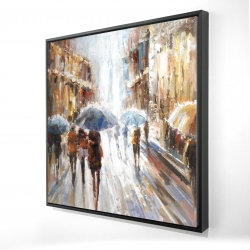 Framed 24 x 24 - 3D - Abstract passersby in the city