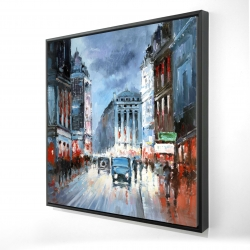 Framed 24 x 24 - 3D - Abstract red and blue city