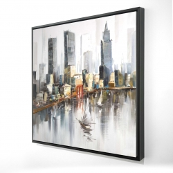 Framed 24 x 24 - 3D - Watercolor style city with boats