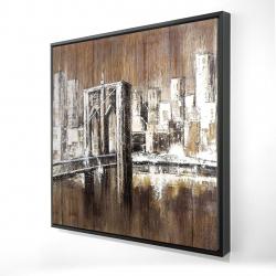Framed 24 x 24 - 3D - Aged finish brooklyn bridge