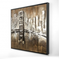 Framed 36 x 36 - 3D - Aged finish golden gate