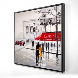 Framed 24 x 24 - 3D - Couple walking near a coffee shop