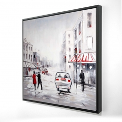 Framed 24 x 24 - 3D - Couple walking in the street with red accents