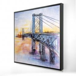 Framed 24 x 24 - 3D - Abstract brooklyn bridge