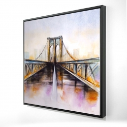 Framed 24 x 24 - 3D - Colorful brooklyn bridge