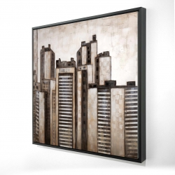 Framed 24 x 24 - 3D - Striped skyscrapers