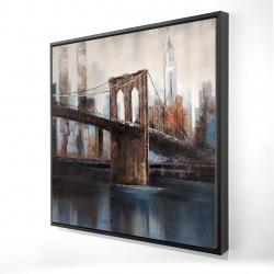 Framed 24 x 24 - 3D - Brown and blue brooklyn bridge