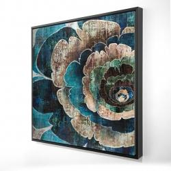 Framed 24 x 24 - 3D - Blue flower montage