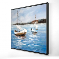 Framed 24 x 24 - 3D - Two boats on the water