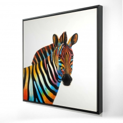 Framed 24 x 24 - 3D - Colorful profile view of a zebra