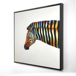 Framed 24 x 24 - 3D - Colorful zebra