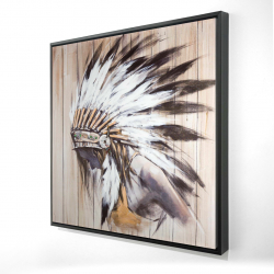Framed 24 x 24 - 3D - Indian with feathers