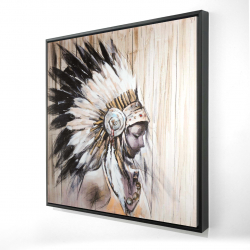 Framed 24 x 24 - 3D - Indian with an headdress chief