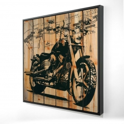 Framed 36 x 36 - 3D - Motorcycle on wood background