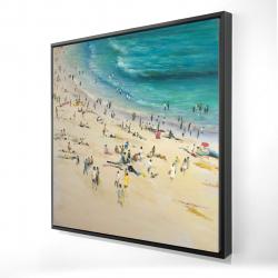 Framed 24 x 24 - 3D - Summer crowd at the beach