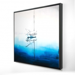 Framed 24 x 24 - 3D - White boat on a deep blue water