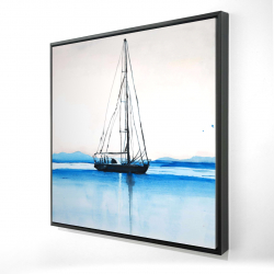 Framed 24 x 24 - 3D - Sailboat on a calm water