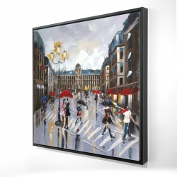Framed 24 x 24 - 3D - People walking across the street by a rainy day