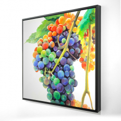 Framed 24 x 24 - 3D - Colorful bunch of grapes