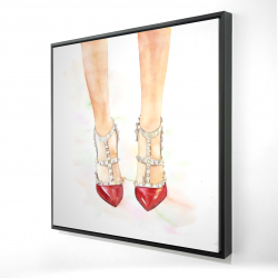 Framed 24 x 24 - 3D - Red studded high heels