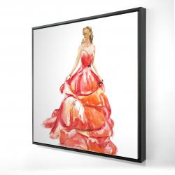 Framed 24 x 24 - 3D - Beautiful red prom dress