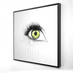 Framed 24 x 24 - 3D - Green eye in watercolor