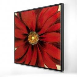 Framed 24 x 24 - 3D - Red daisy